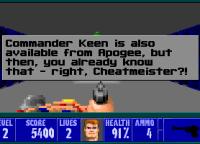 Presionando las teclas A + B + T al mismo tiempo nos saldrá este simpático cartel promocionando al Commander Keen, otro juego de Apogee (la distribuidora del juego).